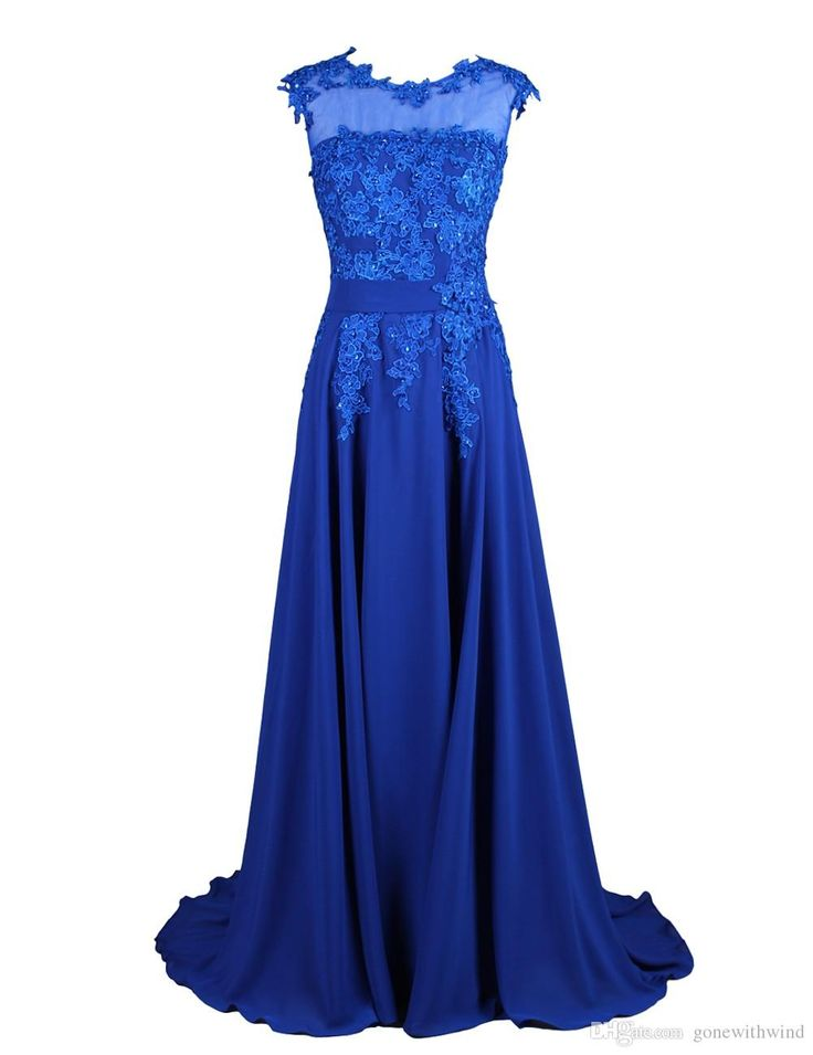 2016 Royal Blue Bridesmaid/Prom Dresses For Wedding With Appliques Elegant A Line Scoop Sweep Train Chiffon Wedding Guest Dresses Beige Bridesmaid Dresses Black And White Bridesmaid Dresses From Gonewithwind, $70.36| Dhgate.Com