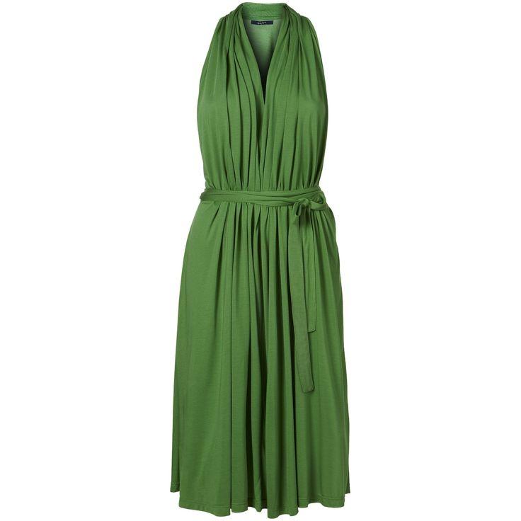 Elegantné šaty značky Gant bez rukávov s dĺžkou po kolená. Jednoduchý vzhľad oživuje decentné nariasenie a stuha v pase