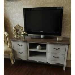 Superb Large Grey TV Cabinet With Drawers   French Grey Range