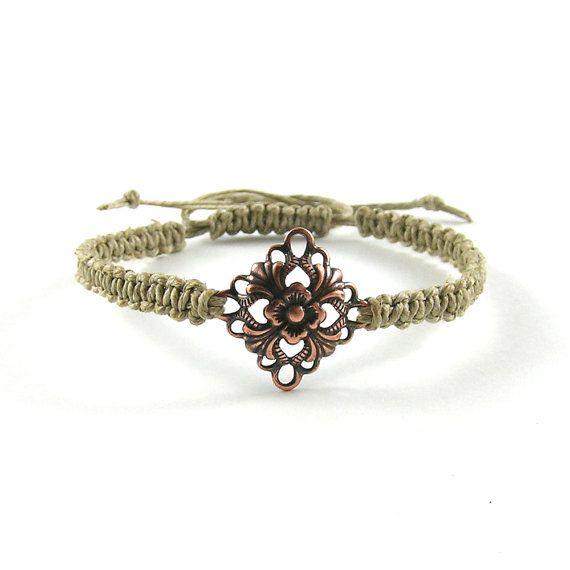 Macrame bracelet linen cord bracelet eco-friendly by Taurieldesign