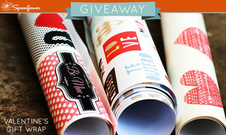 Check out this week's giveaway from Spoonflower-- a chance to win Valentine's Day gift wrap!