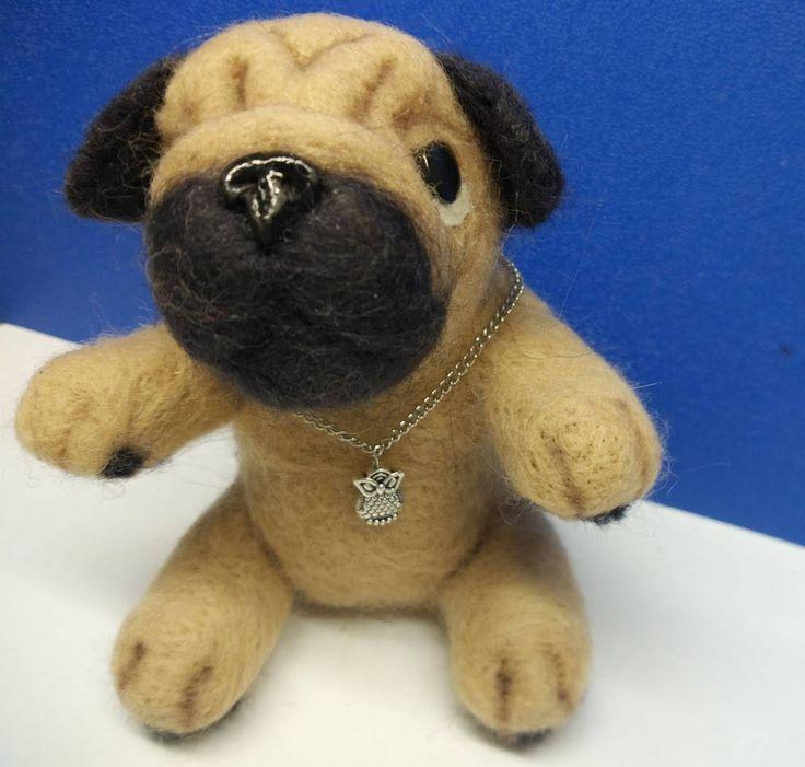Felt Pug  Needle felting Felt doll Toy  Felt toys  Needle felted animal  Pug Felted dog Personalised gifts Gift for her Gift for men