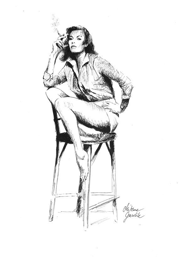 WOMEN WITH CIGARETTE - Fine Art Print after an original drawing by Milena Gawlik, Black & White, sensual woman's drawing
