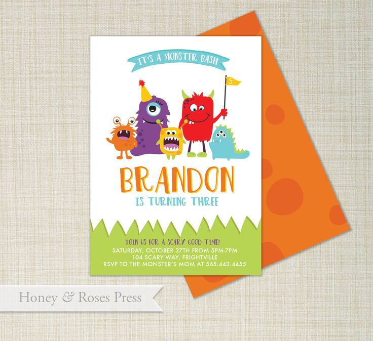 Monster Birthday Invitation  . Halloween Invite . Monsters Invitation . Monster Party Invite . Printable Invitation by HoneyandRosesPress on Etsy https://www.etsy.com/listing/246172115/monster-birthday-invitation-halloween