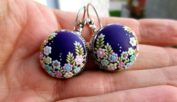 Violet Beauty from Stories Made By Hands Spring Earrings Polymer Clay Pastel Earrings Colorful Earrings Embroidery Jewelry Flower Earrings