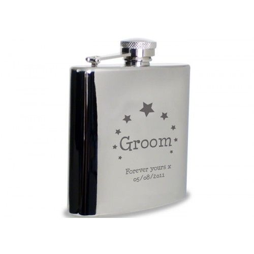 Personalised Groom Hip Flask - Star Design  from www.personalisedweddinggifts.co.uk :: ONLY £24.99