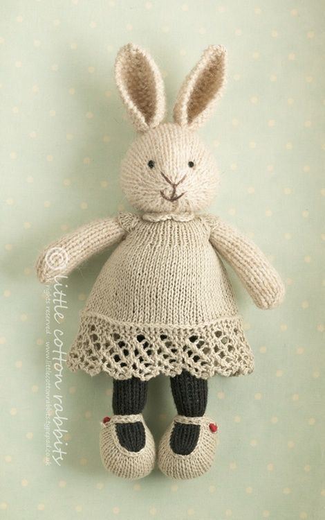Bunny Girl in a Dotty Dress by Little Cotton Rabbits knitting pattern £3.85 on Ravelry at http://www.ravelry.com/patterns/library/bunny-girl-in-a-dotty-dress