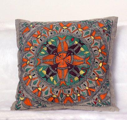 Elegant Beige Hand Pinted Luxury Cushion Cover in Fish Design