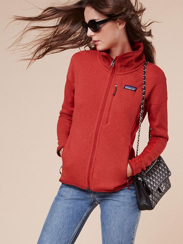 Reformation Patagonia Better Sweater Fleece Jacket in French Red