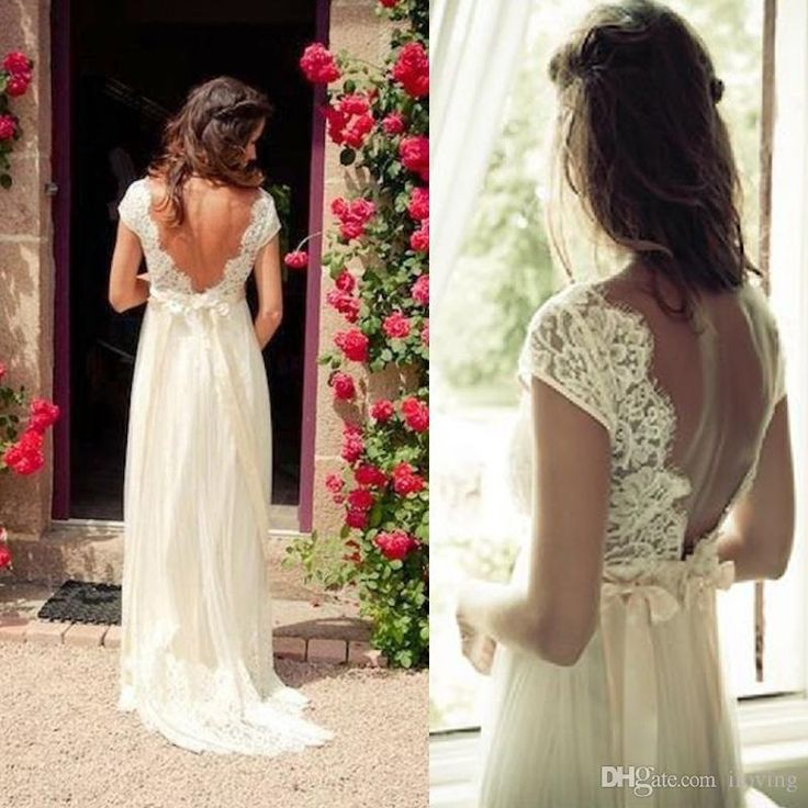 Capped Sleeves 2017 Cheap Hot Sale Lace Wedding Dresses Sexy Open Back And Deep V Neck Chiffon Country Wedding Dress With Sash Wedding Gowns Dream Wedding Dresses Gowns Dresses From Iloving, $157.54| Dhgate.Com
