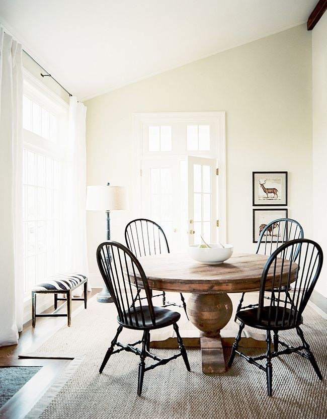 Dining Area I Like The Round Or Rectangle Rustic Wood Tables Use The Old Wood Chairs Painted Black