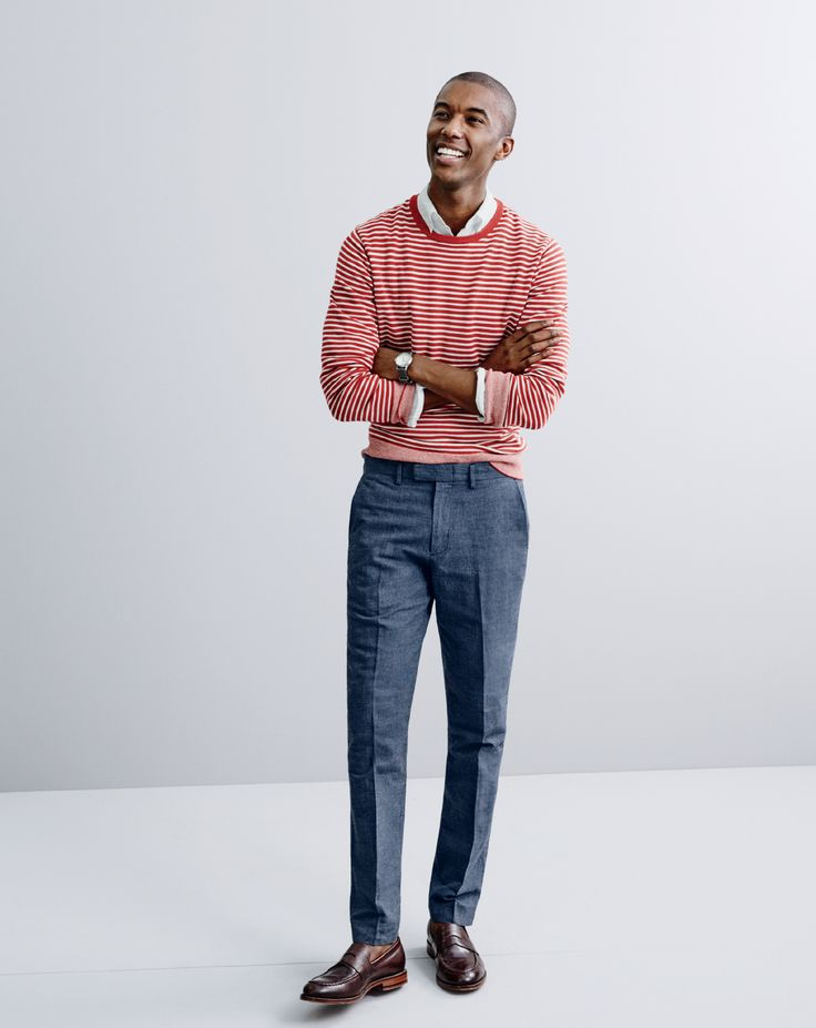 J.Crew men's cotton crewneck sweater in red stripe, Secret Wash shirt in white, Bowery slim pant in crosshatch cotton-linen, Timex® for J.Crew vintage field army watch and Ludlow penny loafers.