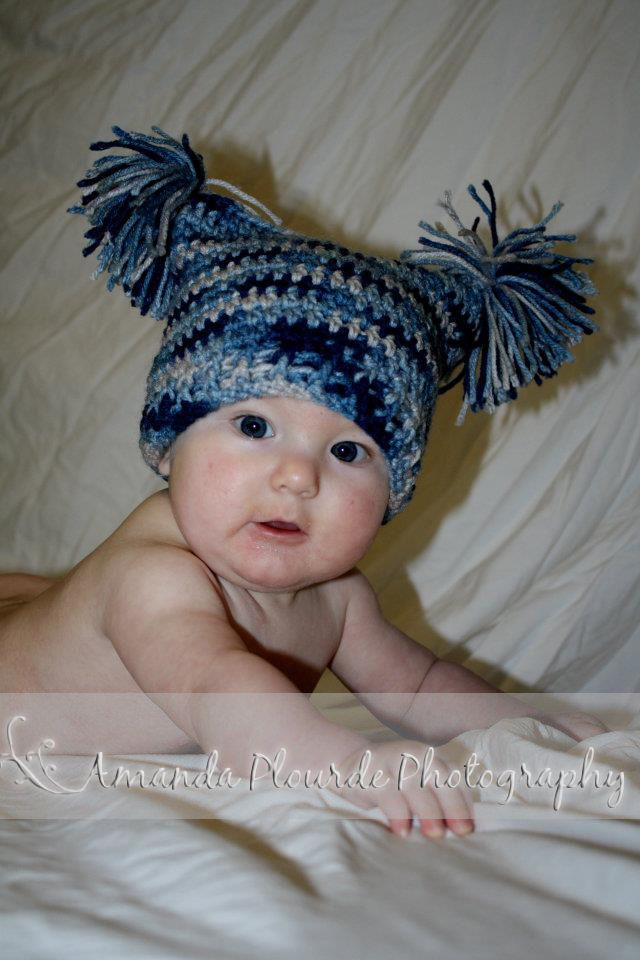 Diamond Crochet  3-6 Month Sack Hat with Pom-Pom Crochet Pattern ... 14ef1249e28