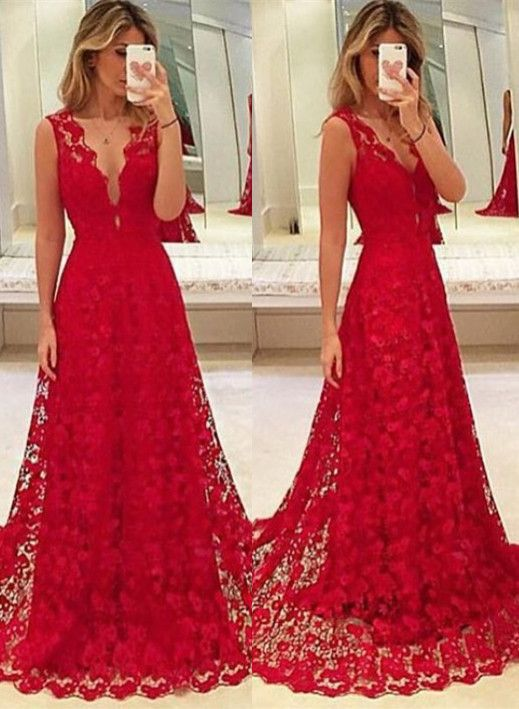 Long red party dress