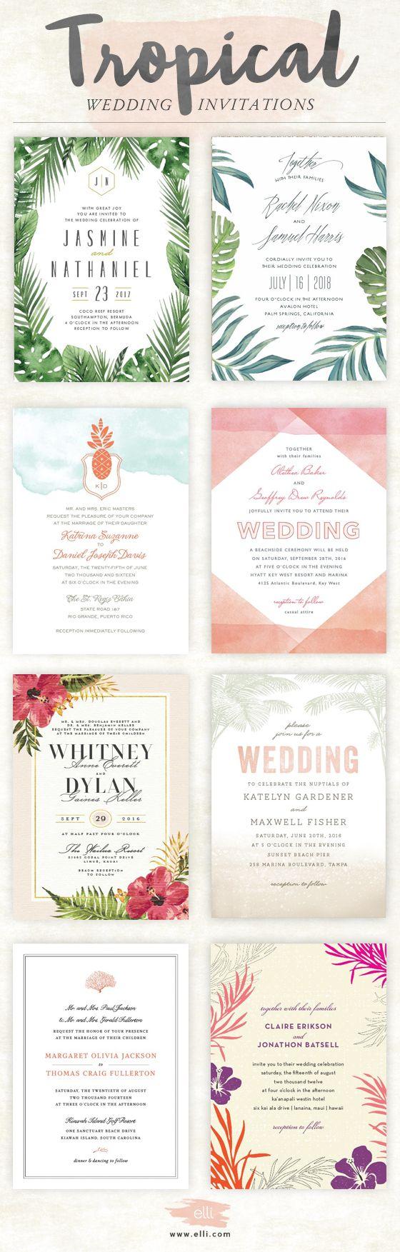 Top tropical themed wedding invitations at Elli.com
