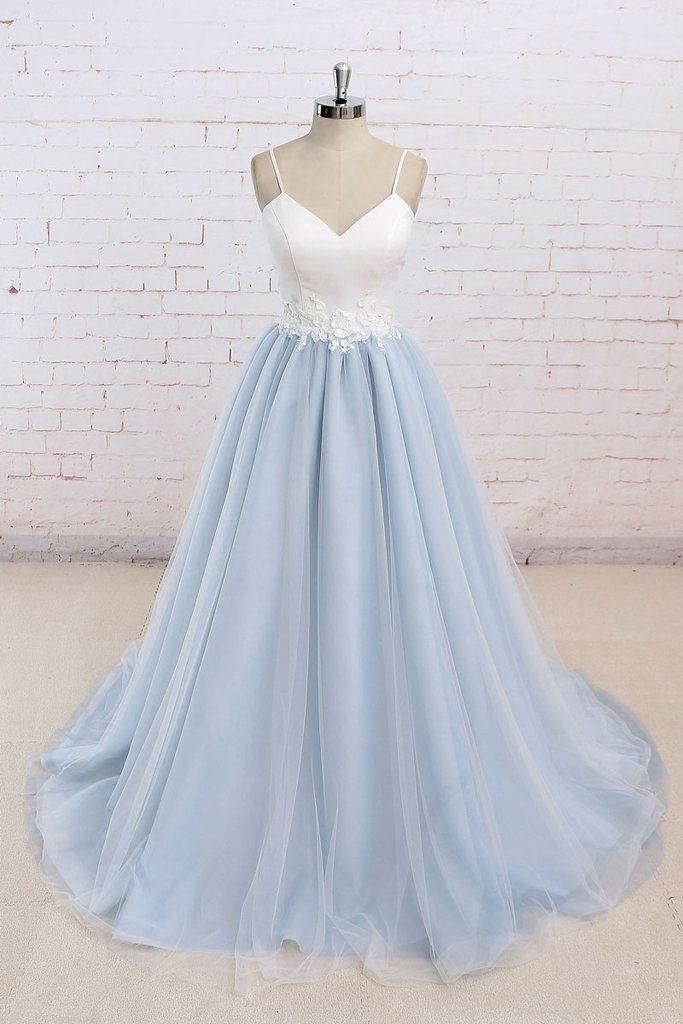 Baby blue tulle long simple 3D flower senior prom dress, long tulle wedding dress