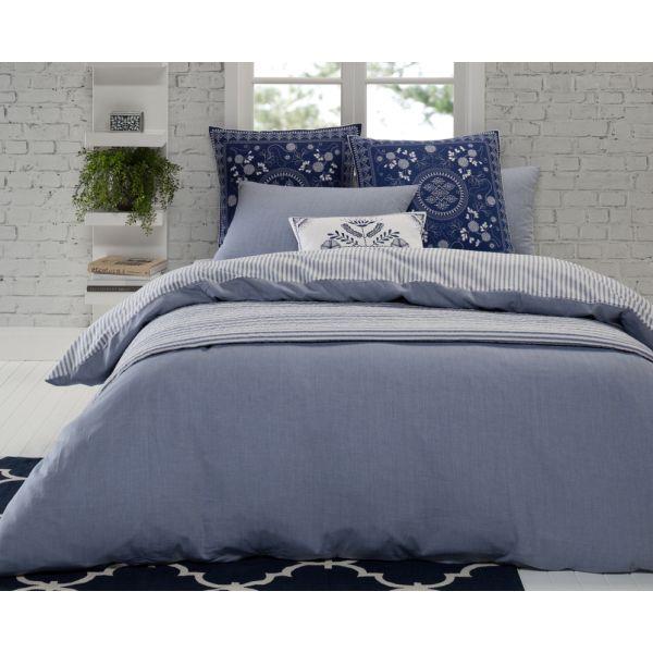 Ticking Stripe Blue Quilt Cover Set