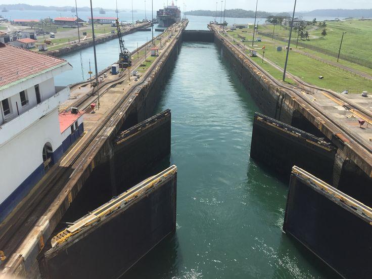 Entering Panama Canal from Gatun Lake