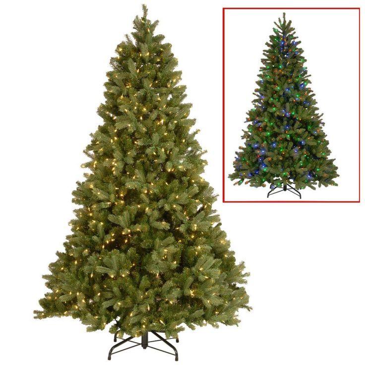 Elegant  ft Downswept Douglas Fir Artificial Christmas Tree with Dual Color LED Lights Greens