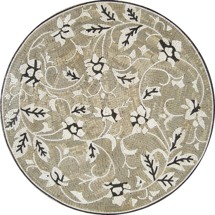 MD080 Marble Mosaic Medallion Tile Floor Design