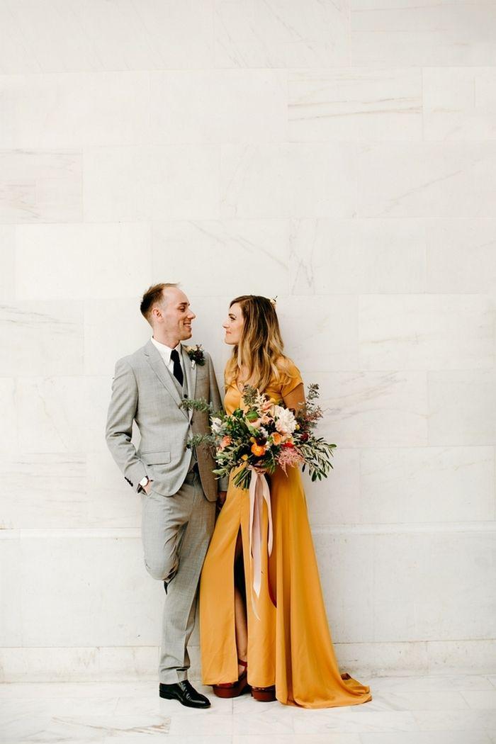 Non white wedding dress | Alternative wedding dress | Mustard yellow wedding dress Jessica and Karl's San Francisco City Hall Wedding