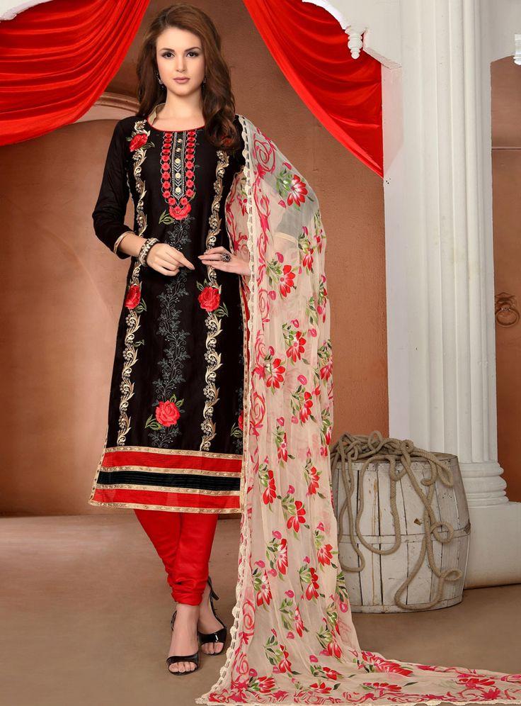 Black Cotton Churidar Salwar Suit 99271