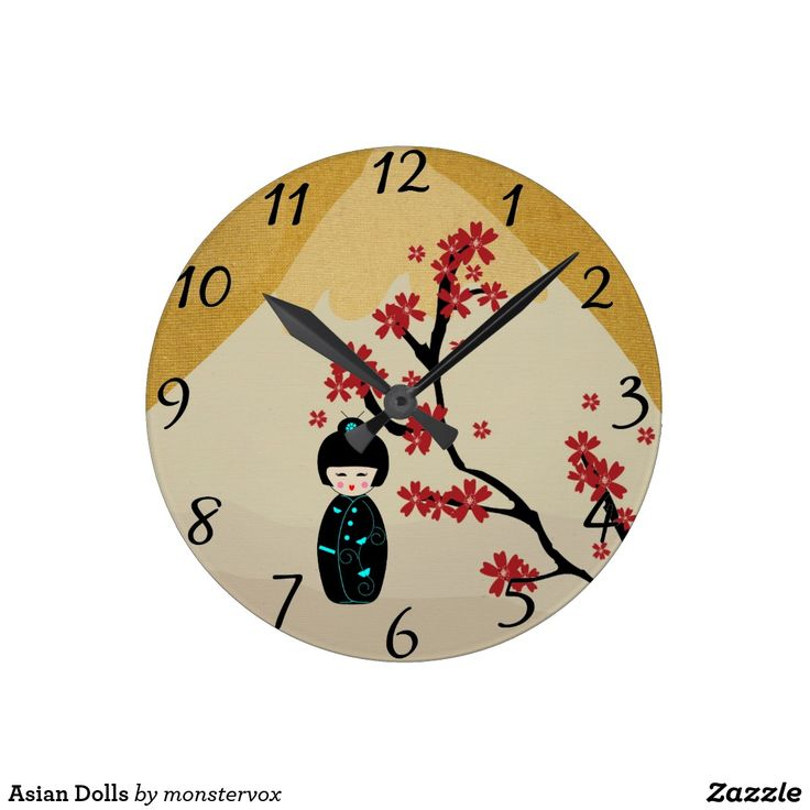 Asian Dolls Round Clock #Doll #Asian #Asia #Japan #Japanese #Tree #Flower #Mountain #Home #Decor #Office #Time #Clock