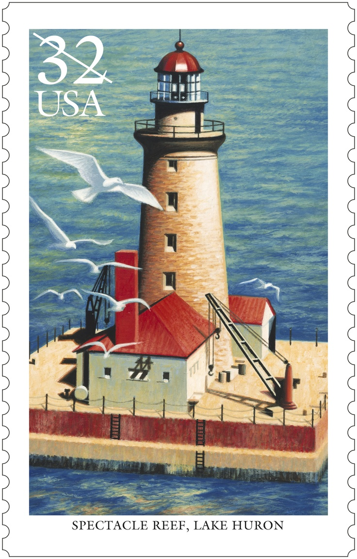 Spectacle Reef is one of five lighthouses chosen to commemorate the more than 220 lighthouses that dot the bluffs, inlets and islands of the U.S. waters of the Great Lakes.  The stamps were issued in 1995.