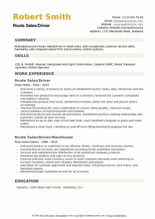 Food Delivery Driver Resume Beautiful Route Sales Driver Resume Samples Resume Examples Web Developer Resume Job Resume Examples