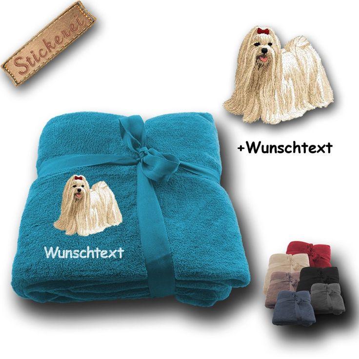 Fleecy Cuddle Blanket Dog Malteser + Custom Text, Embroidery, 70 9/10X51 1/5In