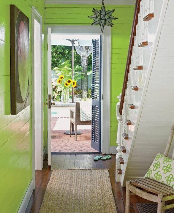 Lemon Green Painted Wall Hallway..beach cottage. Key West