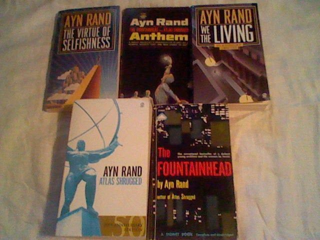 5 Ayn Rand lot Atlas Shrugged,Fountainhead,Anthem,We The Living,The Virtue of Selfishness,objectivism,paperback lot =0