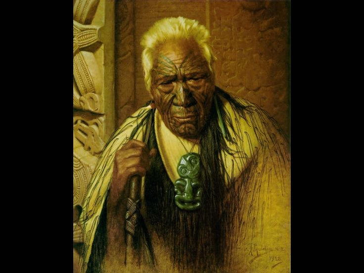 Thoughts of a Tohunga Wharekauri Tahuna by Charles Goldie, Oil on canvas