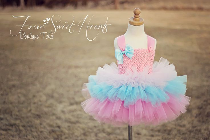 Cotton Candy Tutu Dress First Birthday by FourSweetHeartsTutus