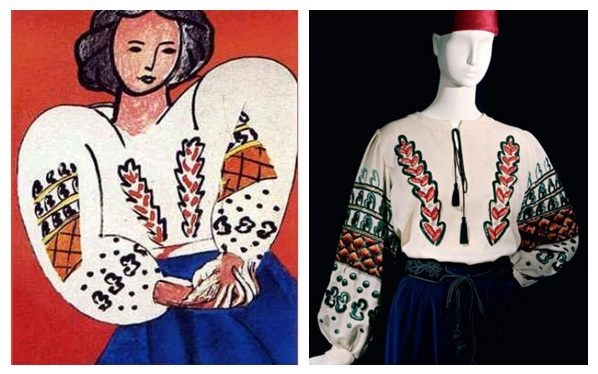 """La Blouse Roumaine is an oil-on-canvas painting by Henri Matisse from 1940, inspired by a brilliant manifestation in art: the traditional Romanian folk costumes.  Attracted by the famous painting with the same name, Yves Saint Laurent created for autumn-winter 1981 collection, ""La Blouse Roumaine"" as homage to Henri Matisse."