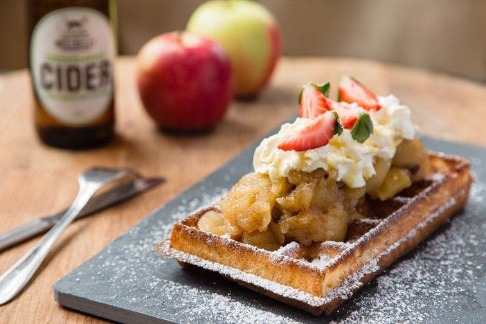 Flemish Flavours' Belgian waffles with Hillbilly Cider apple compote. Advertising Photography by Evangeline Aguas