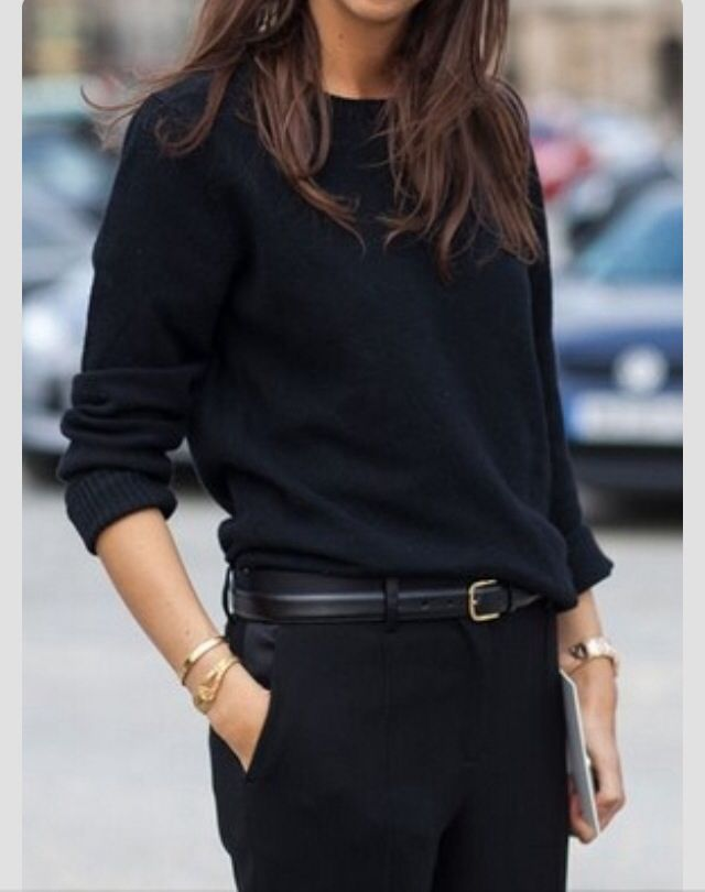 Love the drape on the sweater - the entire outfit including the belt and monochrome color!