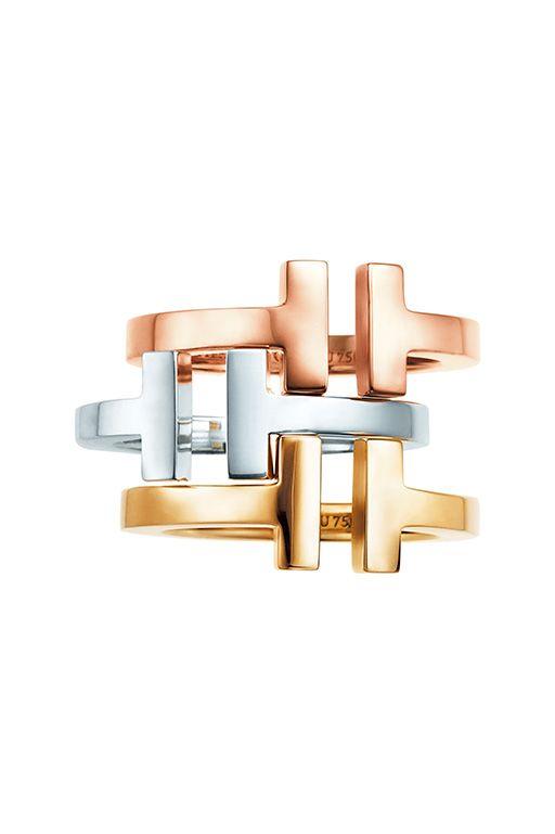 ティファニーT スクエアリング 素材|上からローズゴールド、ホワイトゴールド、イエローゴールド 価格|共に19万1160円