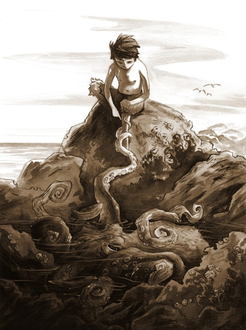 little boy and an octopus- Michael Manomivibul: Books Art, Manomivibul Illustrations, Books Illustrations, Art Prints, Michael Manomivibul, Art Drawings Illistr Animal, Dashboards, Octopuses, Little Boys