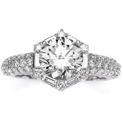 Hexagonal Halo Round & Baguette Diamond Engagement Ring - This incredible Hexagonal Halo Round & Baguette Diamond Engagement Ring comes with a 1.2 Carat I-J I1 Center Stone & 0.6 Carats of Side Diamonds 1.8 Cttw It is a non-treated natural stone with a good cut. #unusualengagementrings