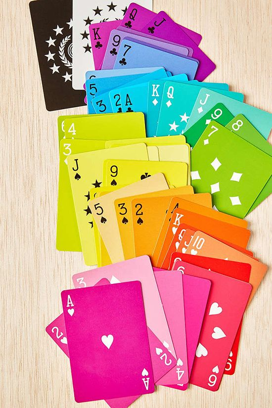 Love these designer rainbow playing cards for game night | Small for Big