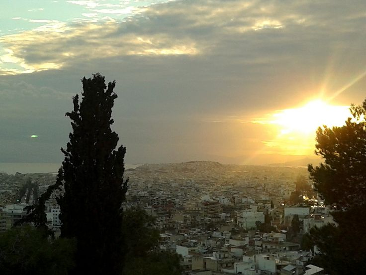 A...difficult but (just because of this?) majestic sunset above Athens and Pireus - as seen from the Philopappos Hill