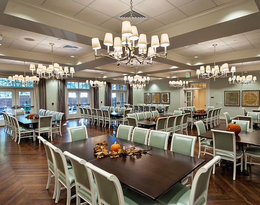 Take a look at the SMU Tri Delta house dining room! Stunning.