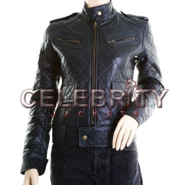 Alicia Wit Diamond Quilted Genuine Leather Jacket - £109.99