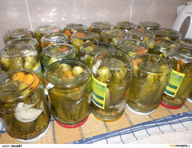 Na dno každé sklenice dáme cukr, sůl, koření, ocet a pak rovnáme okurky, které prokládáme zeleninou, koprem a listem.Až máme sklenici plnou,...