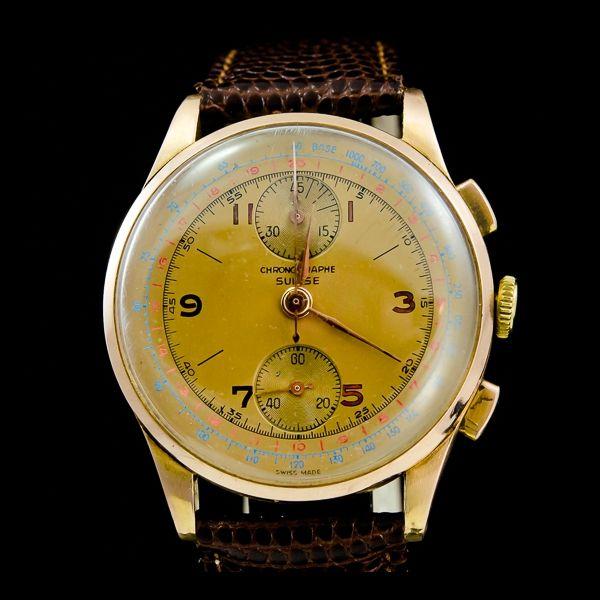 Chronograph Suisse-Vintage Chronograph, or rose 18k Disponible immédiatement sur notre site: http://www.joaillerie-royale.com/114-montres-vintage