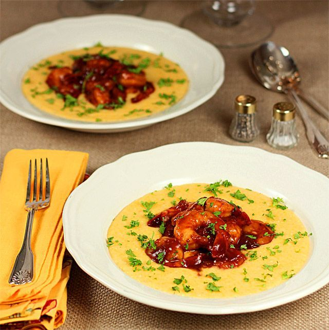 Barbeque Shrimp with Cheese Grits - A Very Southern Tradition for New Years...maybe with some Black Eyed Peas for luck?  Love, love, love Cheesy Grits!  And, well, with BBQ Shrimp...what more could you want?
