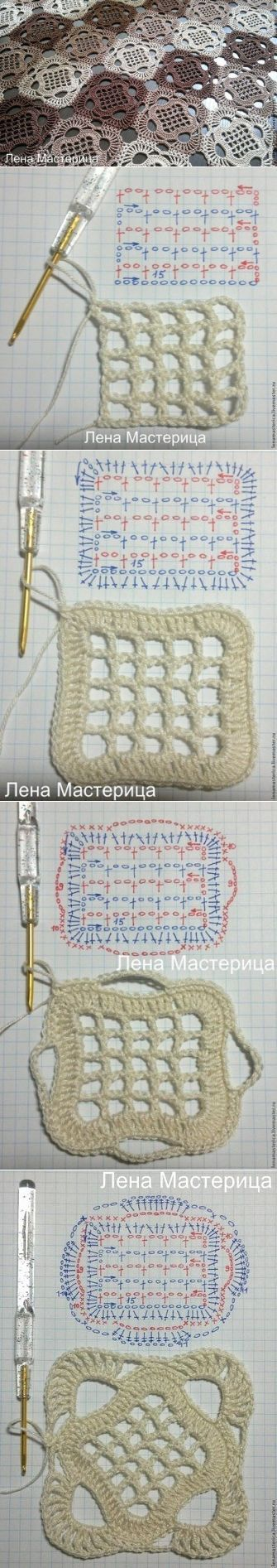 CROCHET MESH GRANNY SQUARE WITH DIAGRAM AND PHOTO TUTORIAL (Russian) | ~~ https://www.pinterest.com/bonniebuchanan