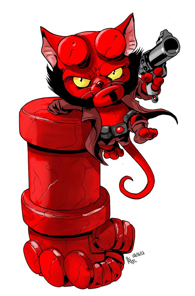 Hellboy as a cat by Axel Medellin for The Line It Is Drawn