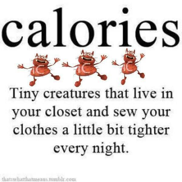 Calories - Tiny creatures that live in your closet and sew your clothes a little bit tighter every night.